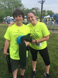 Joseph's teacher Mrs. Marra ran the 5k!  It was wonderful to have so many teachers and students participate from Grant, Riley and Lakeview Elementary School!  So many from school came out!